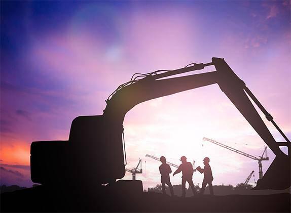 Men & Excavator at Dusk